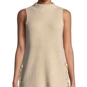 NWT women's size L lace- up tuni sweater MK tan